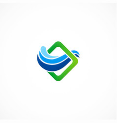 Wave water square company business logo vector
