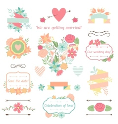 Wedding collection of decorations flowers ribbons vector