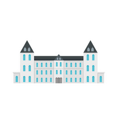 White royal castle city icon flat style vector
