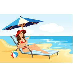 Woman on sea beach vector