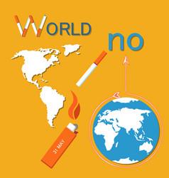 World no tobacco day poster lightened cigarette vector