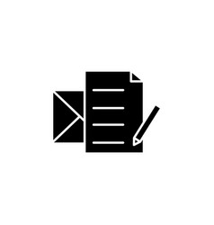write a message icon black on white background vector image