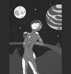 Young pretty woman dressed in spacesuit standing vector