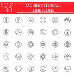 mobile interface line icon set vector image