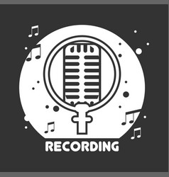 recording studio black and white emblem with vector image vector image
