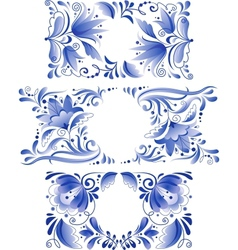 Russian ornaments art frames in gzhel style vector image vector image