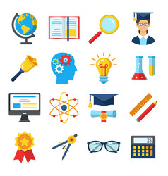 set of colorful flat school and education icons vector image