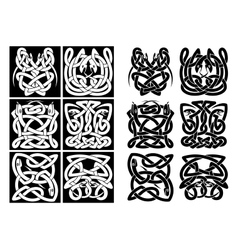 Snakes and reptiles celtic patterns vector image