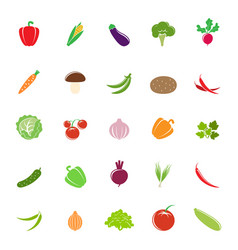 colorful vegetable silhouettes vector image vector image