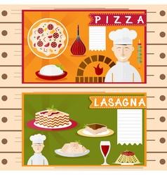 flat design posters of italian cuisine elements vector image
