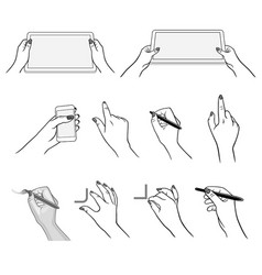 Hands drawing using devices vector
