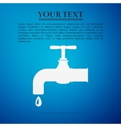 Water tap flat icon on blue background vector image