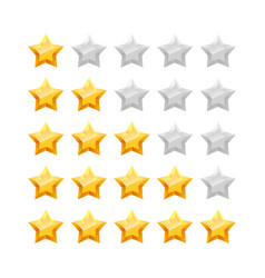 3d five stars rating icon set vector image