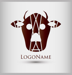 Abstract logo with cow head modern style logotype vector