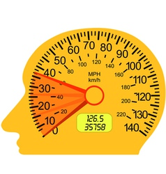 car speedometer in the human brain vector image