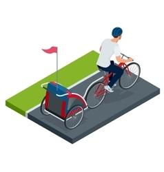 Isometric Bicycle with Kids Bike Trailer vector image vector image