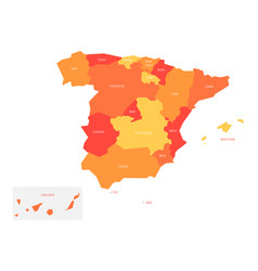 map of spain devided to 17 administrative vector image vector image