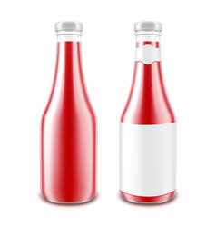 set of tomato ketchup bottle on white background vector image