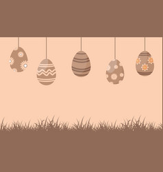 silhouette of easter egg on brown background vector image vector image