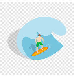 Surfer riding the wave isometric icon vector