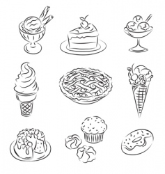cakes and ice-cream vector image vector image