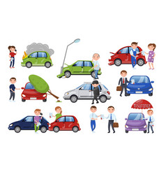 car crash and accident set car insurance cartoon vector image vector image