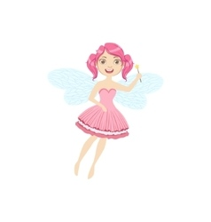 Cute Fairy With Magic Wand Girly Cartoon Character vector image