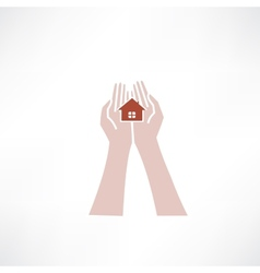 hands holding small house icon vector image