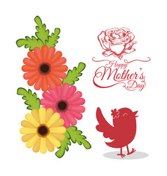 happy mothers day invitation card with bird vector image