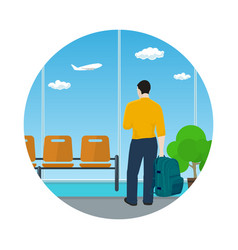 icon airport waiting room with man vector image vector image
