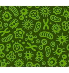 Microbes Virus and Bacteria Green Seamless vector image vector image