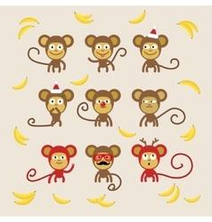 Set of cartoon monkeys vector image