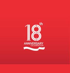 18 anniversary logotype flat design white color vector
