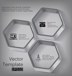 3d hexagon elements for infographic vector image