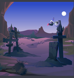 A vulture sits on grave cross on the old vector