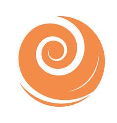 abstract swirl orange color flat icon design vector image