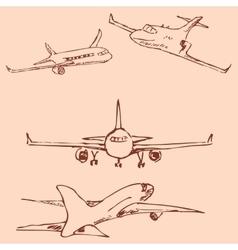 Aircraft Pencil sketch by hand Vintage colors vector