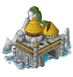 Ancient castle next to rock and water vector