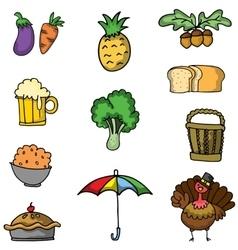 Art of thanksgiving set doodles vector