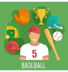 Baseball game icon with batter and sporting items vector image