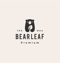 bear cub leaf hipster vintage logo icon vector image