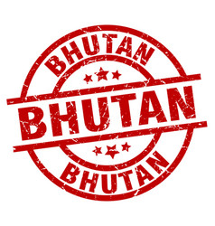 Bhutan red round grunge stamp vector