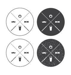 billiard labels set with crossed cues vector image