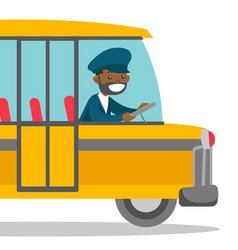 Black bus driver sitting at steering wheel vector