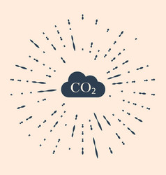 Black co2 emissions in cloud icon on beige vector