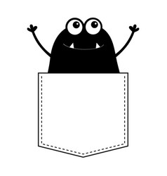 Black monster silhouette in the pocket hands up vector