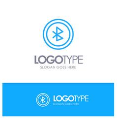 Bluetooth ui user interface blue outline logo vector
