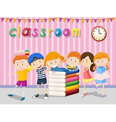 Boys and girls reading in the classroom vector