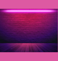 brick wall background neon light vector image