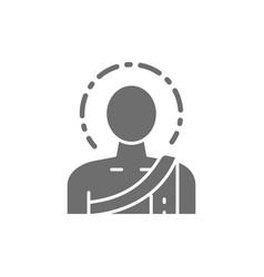 buddha buddhist monk grey icon isolated on white vector image